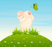 Little toy bunny with butterfly Royalty Free Stock Photography
