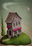 The little toy house on the hill. Illustration to the fairy tale, this picture, the use of textures and some of your own photos Stock Photo