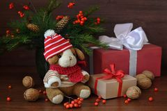 Little toy puppy, christmas tree branches, nuts and some gifts on old tree background. Little toy puppy in a knitted hat, christmas tree branches, nuts and some Stock Image