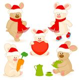 little toy rabbit with gifts Stock Photos