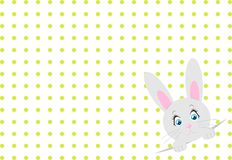 Little toy rabbit on white background with dots. Vector. Little toy rabbit on white background with dots. Cute vector illustration Royalty Free Stock Photo