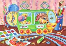 Little toy tram Stock Photo