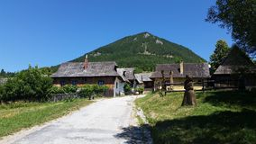 Little traditional village below the peak Royalty Free Stock Photos
