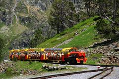 Little train of Artouste in the Pyrenees. Royalty Free Stock Photography