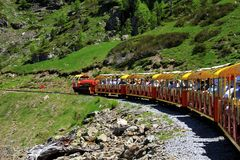 Little train of Artouste in the Pyrenees. Royalty Free Stock Images
