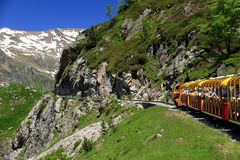 Little train of Artouste in the Pyrenees. Royalty Free Stock Image