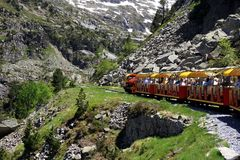 Little train of Artouste in the Pyrenees. Stock Photography