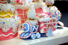 Little train for Christmas cake Royalty Free Stock Photos
