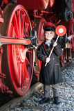 Little Train Conductor Boy Stock Photography