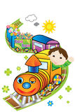 Little train driver. Train carrying candies vector illustration Royalty Free Stock Photos