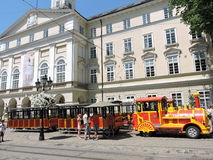 Little train in Lvov town street Stock Photos