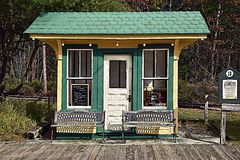 The little train station. An  old train station at the sea coast train and trolley museum in Kennebunkport maine Royalty Free Stock Image