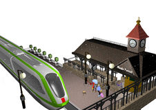 Little train station. A small train station in snowy winter, a train approaching, a few passengers are waiting, old, historical buildings, 3D illustration Royalty Free Stock Photography