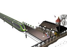 Little train station. A small train station in snowy winter, a train approaching, a few passengers are waiting, old, historical buildings, 3D illustration Stock Photo