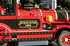 Geneva little red train for tourist in a park royalty free stock photography