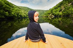 Little traveler on the boat Royalty Free Stock Images