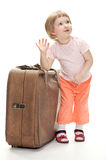 Little traveler preparing for a trip Royalty Free Stock Image