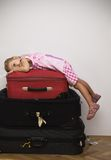 Little traveler ready for fun Stock Image