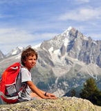 Little traveller in mountains Stock Photography