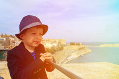 Little traveller with panoramic view of Valetta Royalty Free Stock Image
