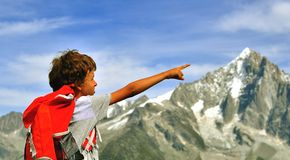 Little traveller at the top, Chamonix Stock Image