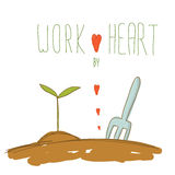 Little tree with soil and fork and red heart hand drawn with wor Stock Image