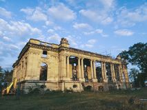 The Little Trianon - ruins. The remaining ruins from Floresti palace. Abandoned castle Little Trianon from Floresti, Romania Royalty Free Stock Photo