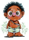 Little tribe boy character design of barbarian front view. Little tribe boy character design of barbarian,Image is front view and background has Simaroubaceae or Royalty Free Stock Images