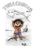 Fisherman with Tuna fish Omeca 3 character design pecil stroke d. Little tribe boy character design of barbarian, He very happy to catch the big tuna fish, Then Royalty Free Stock Photos