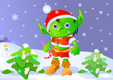 Little troll. In the Christmas night Royalty Free Stock Photos