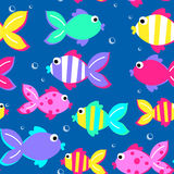 Little tropical fish swimming seamless pattern Stock Photo