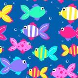 Little tropical fish swimming seamless pattern Stock Photo