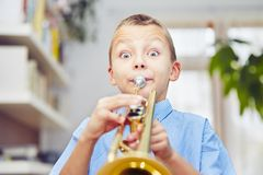 Little trumpeter Stock Images