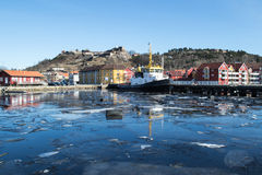 The little tug boat. This is Hugin, one of the Tug boats in the harbor of Halden that keeps everything floating Royalty Free Stock Image