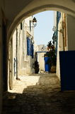Tipical street of Tunisia. Little tunisian's street, Sidi bou said Royalty Free Stock Photos