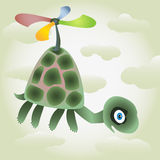 Little turtle fly by the coloured air-screw Stock Photo
