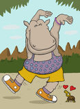 Little turtle in love with sporty hippo Royalty Free Stock Photos