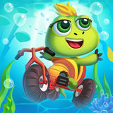 The Little Turtle Rides a Bicycle Underwater Royalty Free Stock Photography
