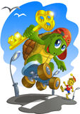 Turtle and Pinocchio. Little turtle escapes from Pinocchio took his golden key Stock Photography