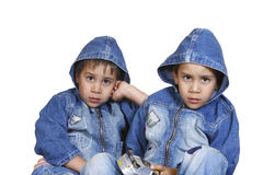 Little twin brothers stock images