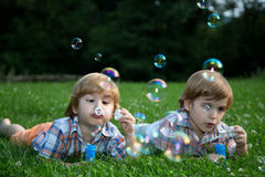 Little Twin Brothers  Blowing Soap Bubbles on Green Grass in Summer Park Stock Image