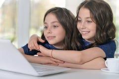 Little twin girls using laptop Stock Photo
