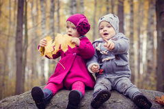 Little twins outdoor royalty free stock images