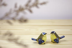 A little two ceramic birds Royalty Free Stock Image