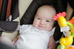 Little two month old baby in a car seat Royalty Free Stock Image