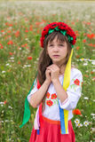 Little Ukrainian girl pray for peace Stock Photography
