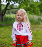 Little ukrainian girl. Stand and watching you Royalty Free Stock Photos