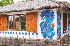 Little Ukrainian hut with  picture on wall Royalty Free Stock Photography