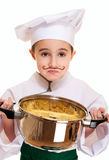 Little unhappy cook with pot. Of pasta isolated on white Royalty Free Stock Photo
