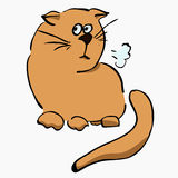 Little unhappy light brown cat. Hand-drawn in a cartoon style Royalty Free Illustration
